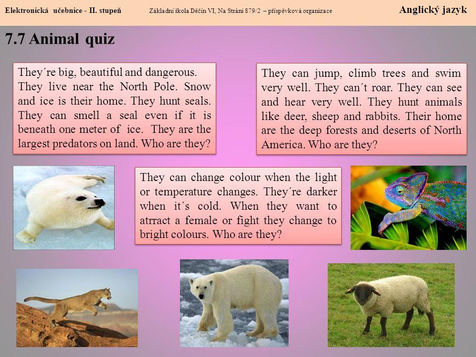 7.7 Animal quiz Elektronická učebnice - II.