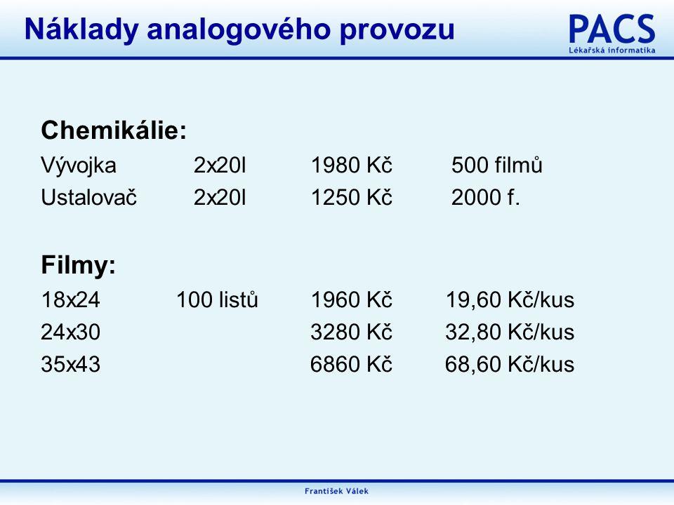 Chemikálie: Vývojka 2x20l1980 Kč 500 filmů Ustalovač 2x20l1250 Kč 2000 f.