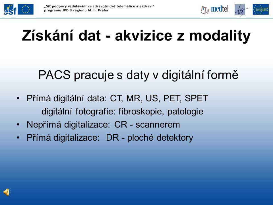 Přímá digitální data: CT, MR, US, PET, SPET digitální fotografie: fibroskopie, patologie Nepřímá digitalizace: CR - scannerem Přímá digitalizace: DR -
