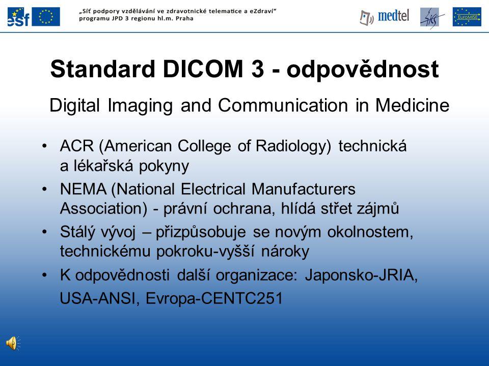 ACR (American College of Radiology) technická a lékařská pokyny NEMA (National Electrical Manufacturers Association) - právní ochrana, hlídá střet záj