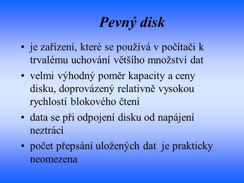 Pevný disk je zařízení, které se používá v počítači k trvalému uchování většího množství dat velmi výhodný poměr kapacity a ceny disku, doprovázený re