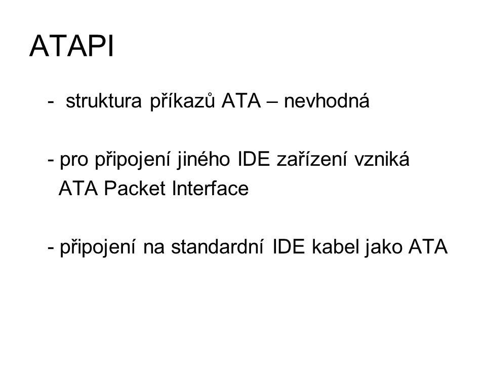 ATAPI - struktura příkazů ATA – nevhodná - pro připojení jiného IDE zařízení vzniká ATA Packet Interface - připojení na standardní IDE kabel jako ATA