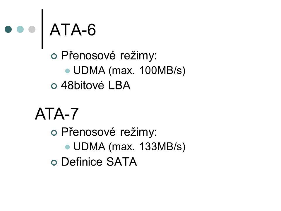 ATA-6 Přenosové režimy: UDMA (max. 100MB/s) 48bitové LBA Přenosové režimy: UDMA (max.