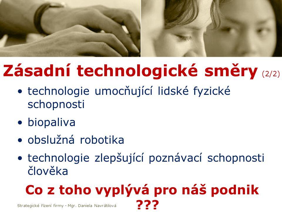Zásadní technologické směry (2/2) technologie umocňující lidské fyzické schopnosti biopaliva obslužná robotika technologie zlepšující poznávací schopnosti člověka Co z toho vyplývá pro náš podnik .