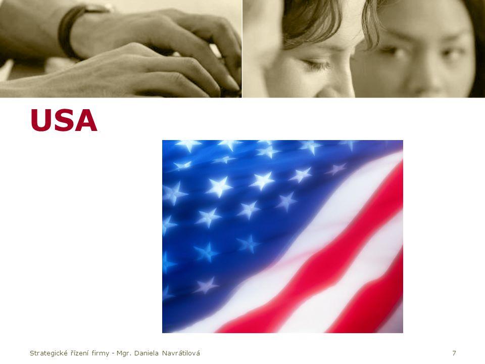 USA Strategické řízení firmy - Mgr. Daniela Navrátilová7