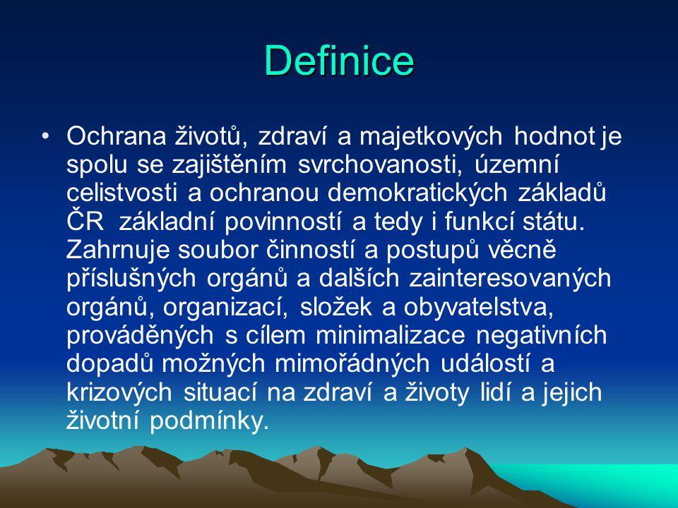 Definice Ochrana životů, zdraví a majetkových hodnot je spolu se zajištěním svrchovanosti, územní celistvosti a ochranou demokratických základů ČR zák