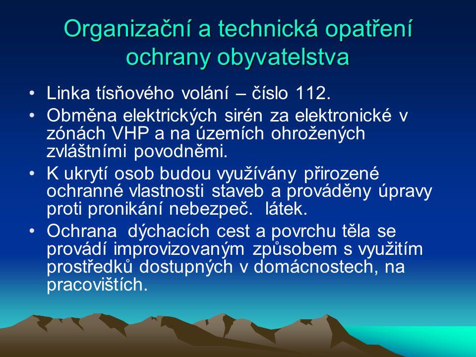 Organizační a technická opatření ochrany obyvatelstva Linka tísňového volání – číslo 112. Obměna elektrických sirén za elektronické v zónách VHP a na