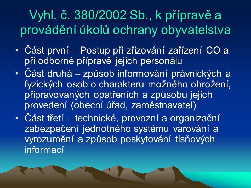 Vyhl. č. 380/2002 Sb., k přípravě a provádění úkolů ochrany obyvatelstva Část první – Postup při zřizování zařízení CO a při odborné přípravě jejich p