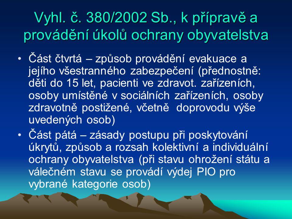 Vyhl. č. 380/2002 Sb., k přípravě a provádění úkolů ochrany obyvatelstva Část čtvrtá – způsob provádění evakuace a jejího všestranného zabezpečení (př