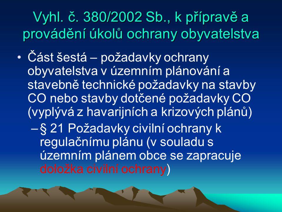 Vyhl. č. 380/2002 Sb., k přípravě a provádění úkolů ochrany obyvatelstva Část šestá – požadavky ochrany obyvatelstva v územním plánování a stavebně te