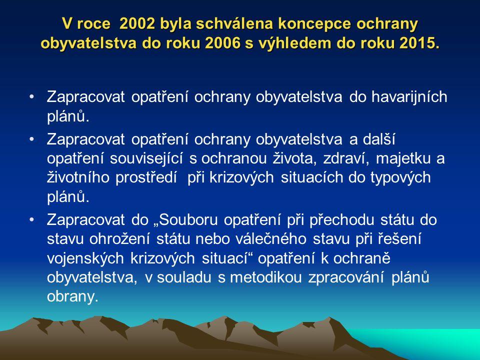 V roce 2002 byla schválena koncepce ochrany obyvatelstva do roku 2006 s výhledem do roku 2015. Zapracovat opatření ochrany obyvatelstva do havarijních