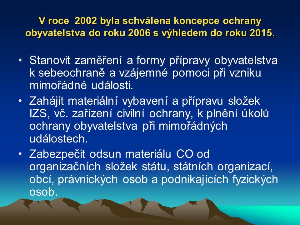 V roce 2002 byla schválena koncepce ochrany obyvatelstva do roku 2006 s výhledem do roku 2015. Stanovit zaměření a formy přípravy obyvatelstva k sebeo