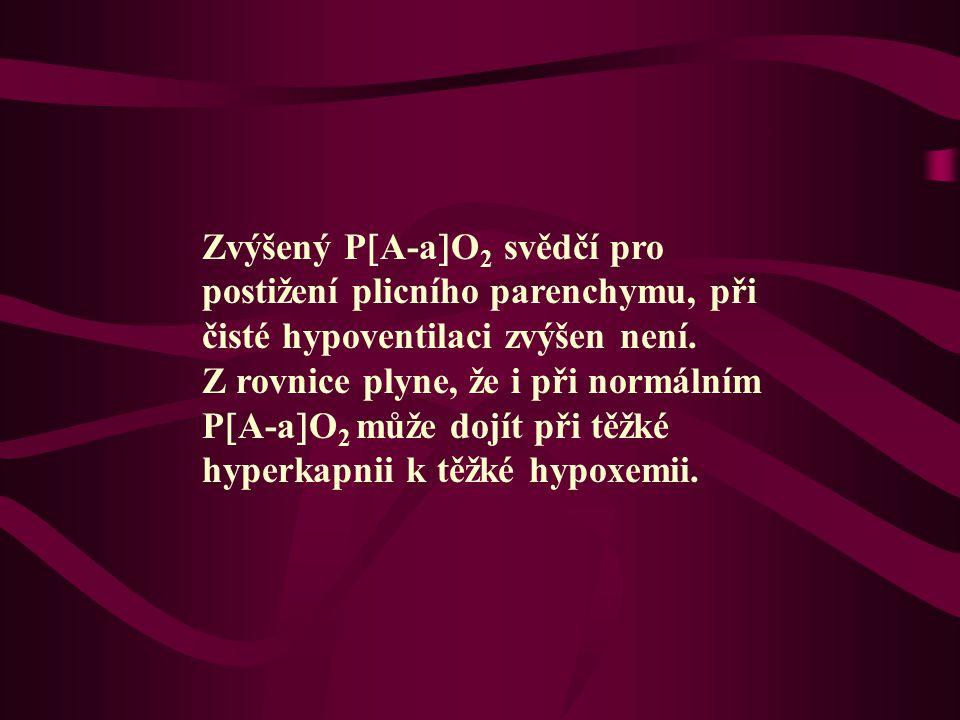 Zvýšený P  A-a  O 2 svědčí pro postižení plicního parenchymu, při čisté hypoventilaci zvýšen není. Z rovnice plyne, že i při normálním P  A-a  O 2