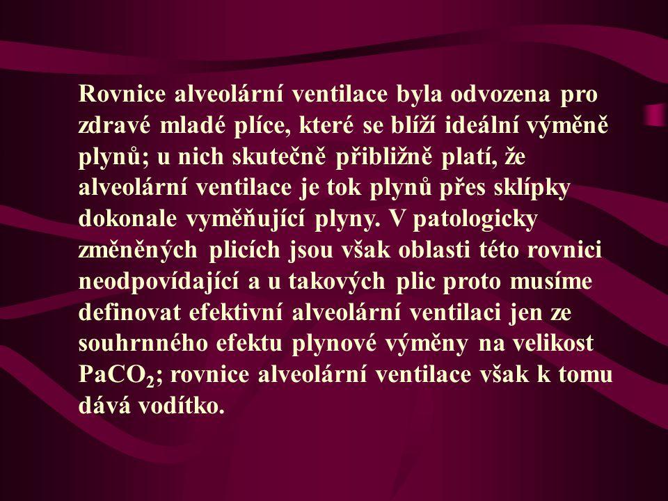 Rovnice alveolární ventilace byla odvozena pro zdravé mladé plíce, které se blíží ideální výměně plynů; u nich skutečně přibližně platí, že alveolární