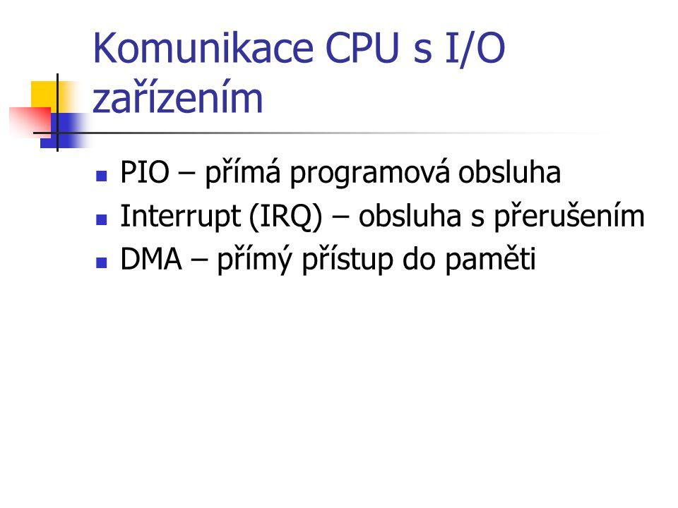 Komunikace CPU s I/O zařízením PIO – přímá programová obsluha Interrupt (IRQ) – obsluha s přerušením DMA – přímý přístup do paměti