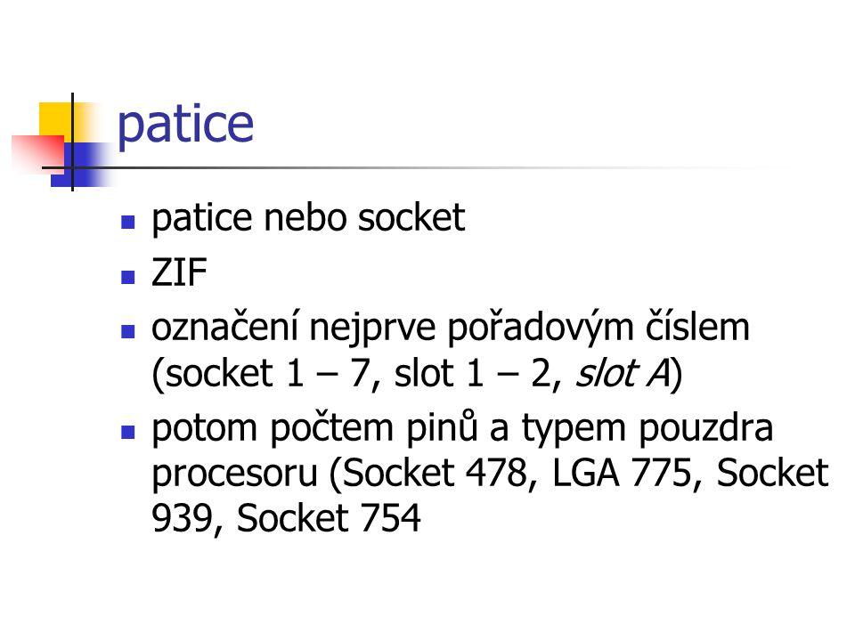 patice patice nebo socket ZIF označení nejprve pořadovým číslem (socket 1 – 7, slot 1 – 2, slot A) potom počtem pinů a typem pouzdra procesoru (Socket 478, LGA 775, Socket 939, Socket 754