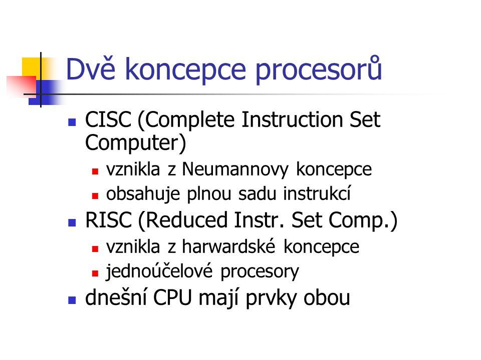 Dvě koncepce procesorů CISC (Complete Instruction Set Computer) vznikla z Neumannovy koncepce obsahuje plnou sadu instrukcí RISC (Reduced Instr. Set C