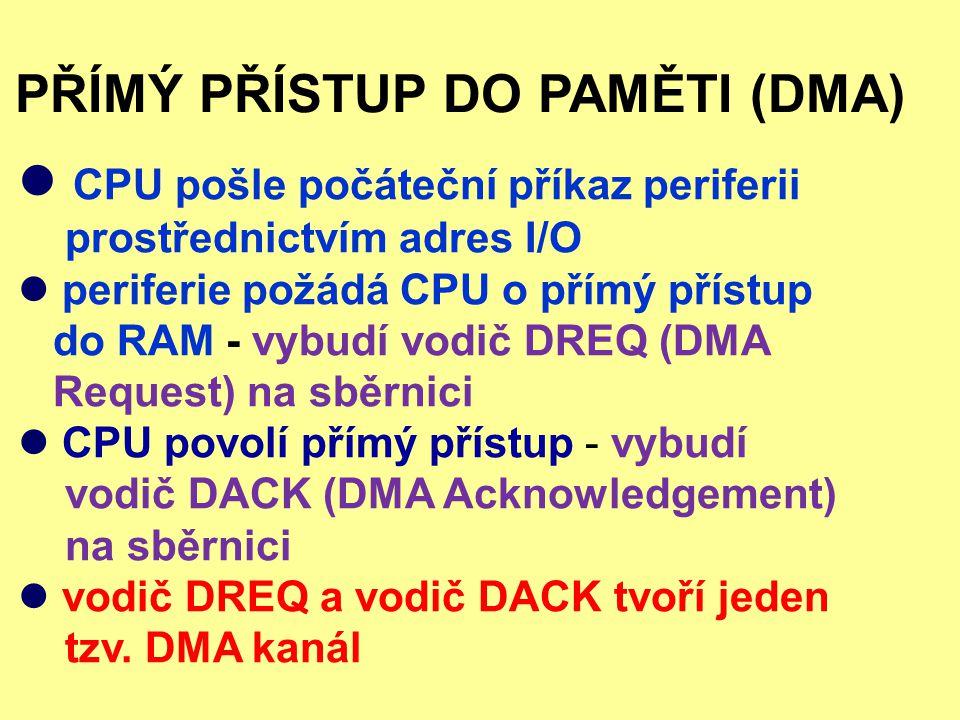 PŘÍMÝ PŘÍSTUP DO PAMĚTI (DMA) CPU pošle počáteční příkaz periferii prostřednictvím adres I/O periferie požádá CPU o přímý přístup do RAM - vybudí vodi