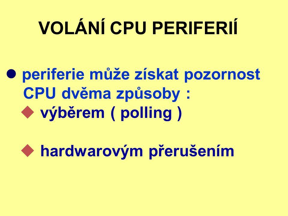VOLÁNÍ CPU PERIFERIÍ periferie může získat pozornost CPU dvěma způsoby :  výběrem ( polling )  hardwarovým přerušením