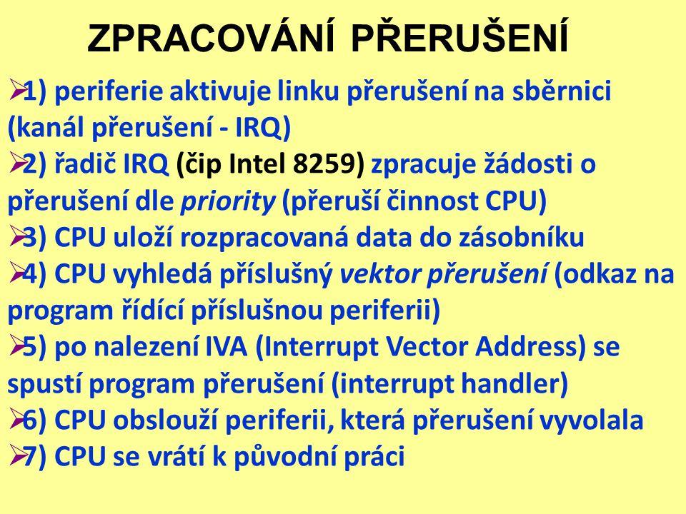 ZPRACOVÁNÍ PŘERUŠENÍ  1) periferie aktivuje linku přerušení na sběrnici (kanál přerušení - IRQ)  2) řadič IRQ (čip Intel 8259) zpracuje žádosti o př