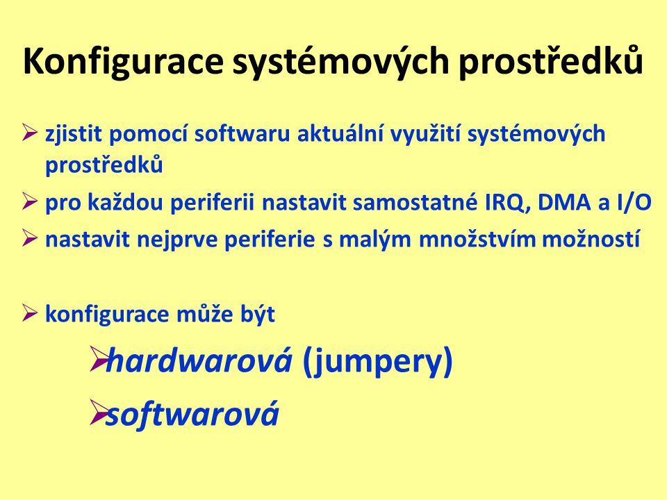 Konfigurace systémových prostředků  zjistit pomocí softwaru aktuální využití systémových prostředků  pro každou periferii nastavit samostatné IRQ, D