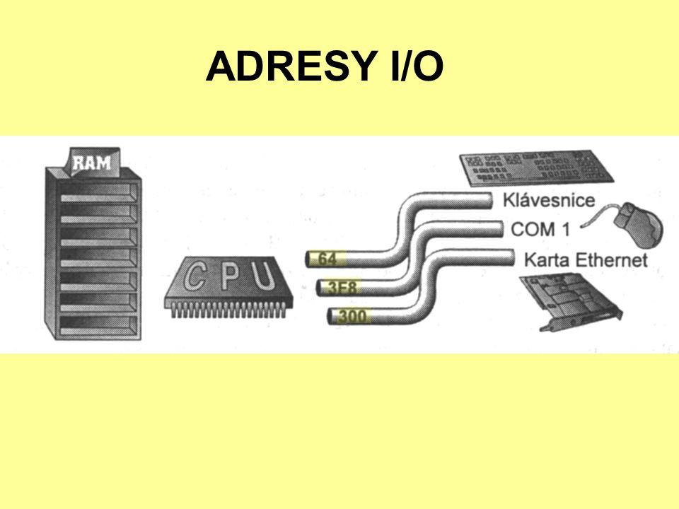 HARDWAROVÉ PŘERUŠENÍ CPU nesleduje činnost zařízení pokud periferie vyžaduje činnost procesoru, aktivuje určitý vodič na sběrnici (tzv.