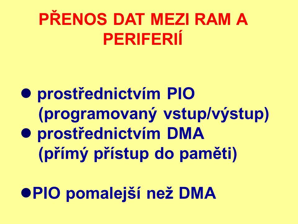PROGRAMOVANÉ VSTUPY A VÝSTUPY ( PIO ) CPU posílá příkazy periferii prostřednictvím adres I/O CPU vyhradí sběrnici pro danou periferii periferie připraví k přenosu požadovaná data CPU přenese data po sběrnici z periferie do RAM (příp.
