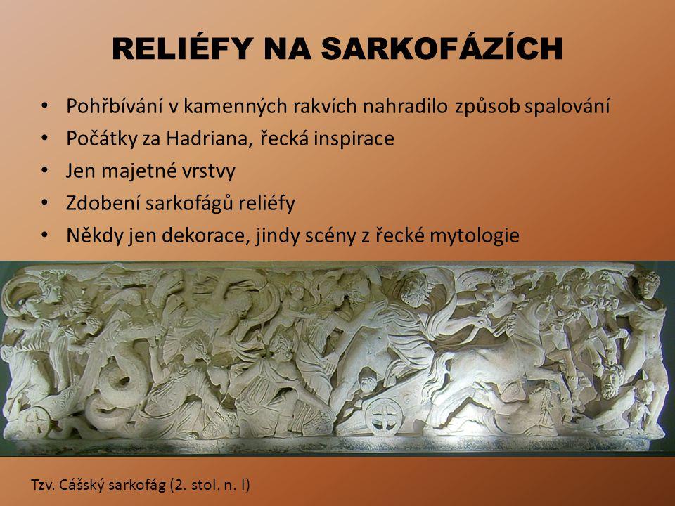RELIÉFY NA SARKOFÁZÍCH Pohřbívání v kamenných rakvích nahradilo způsob spalování Počátky za Hadriana, řecká inspirace Jen majetné vrstvy Zdobení sarkofágů reliéfy Někdy jen dekorace, jindy scény z řecké mytologie Tzv.