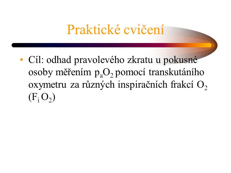 Praktické cvičení Cíl: odhad pravolevého zkratu u pokusné osoby měřením p a O 2 pomocí transkutáního oxymetru za různých inspiračních frakcí O 2 (F i