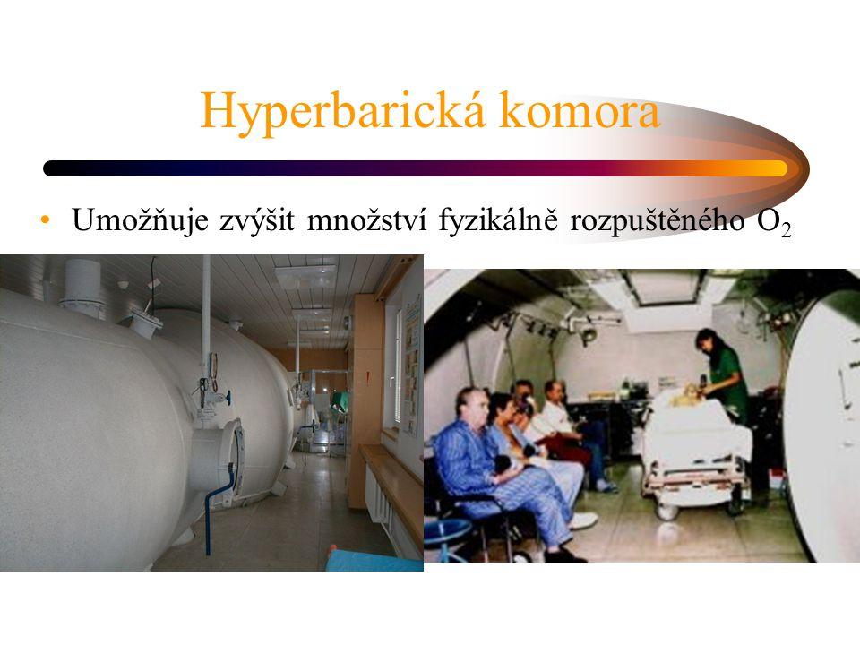 Hyperbarická komora Umožňuje zvýšit množství fyzikálně rozpuštěného O 2