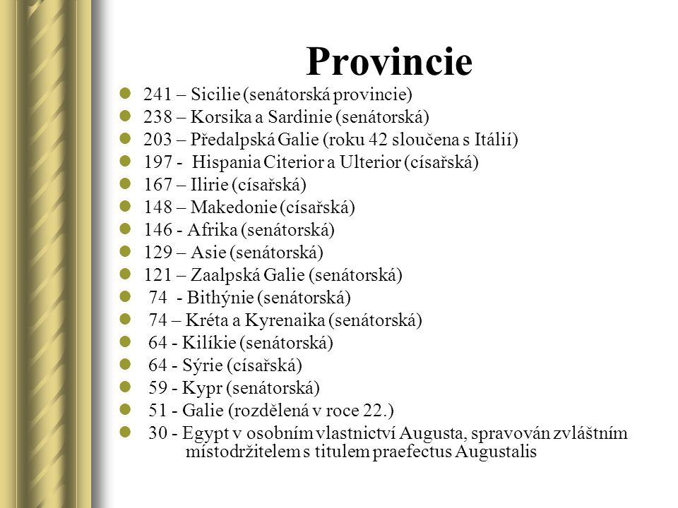 Provincie 241 – Sicilie (senátorská provincie) 238 – Korsika a Sardinie (senátorská) 203 – Předalpská Galie (roku 42 sloučena s Itálií) 197 - Hispania