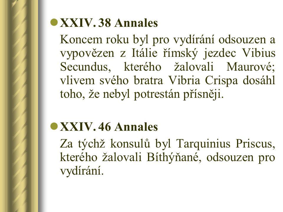 XXIV. 38 Annales Koncem roku byl pro vydírání odsouzen a vypovězen z Itálie římský jezdec Vibius Secundus, kterého žalovali Maurové; vlivem svého brat