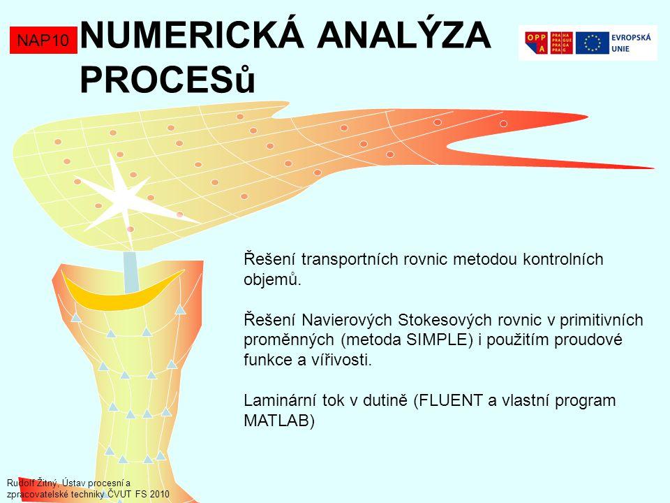 NAP10 Řešení transportních rovnic Asi nejčastěji používanou metodou řešení transportních rovnic je metoda kontrolních objemů (např.Fluent).