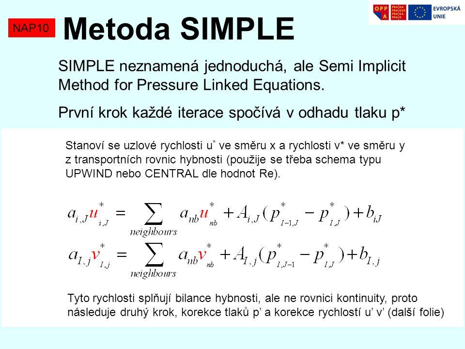 NAP10 Metoda SIMPLE SIMPLE neznamená jednoduchá, ale Semi Implicit Method for Pressure Linked Equations. První krok každé iterace spočívá v odhadu tla