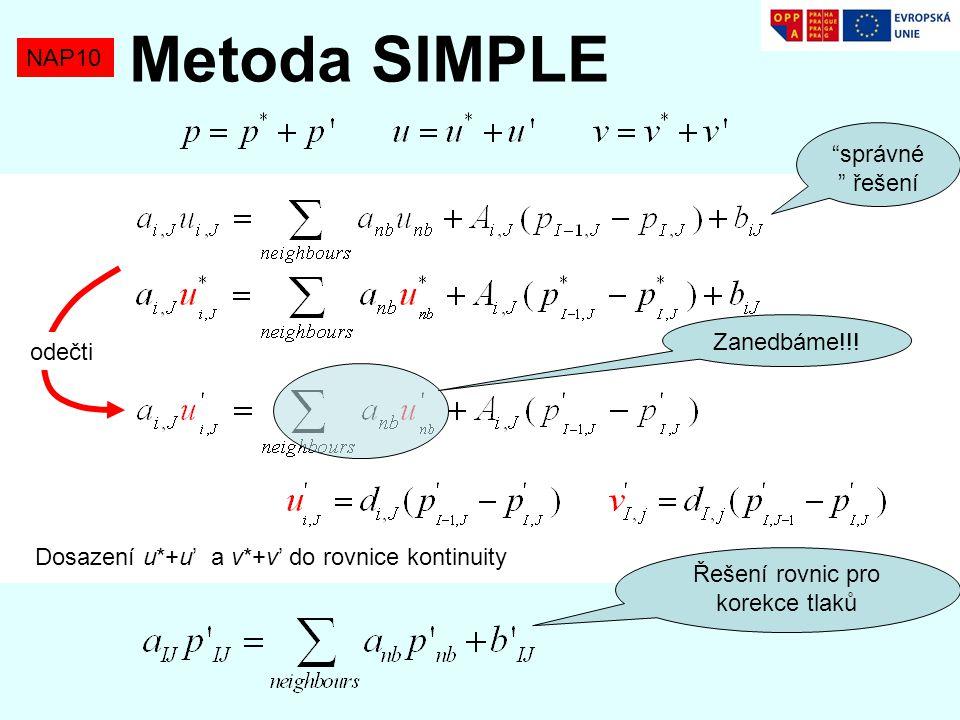 """NAP10 Metoda SIMPLE """"správné """" řešení odečti Zanedbáme!!! Dosazení u*+u' a v*+v' do rovnice kontinuity Řešení rovnic pro korekce tlaků"""