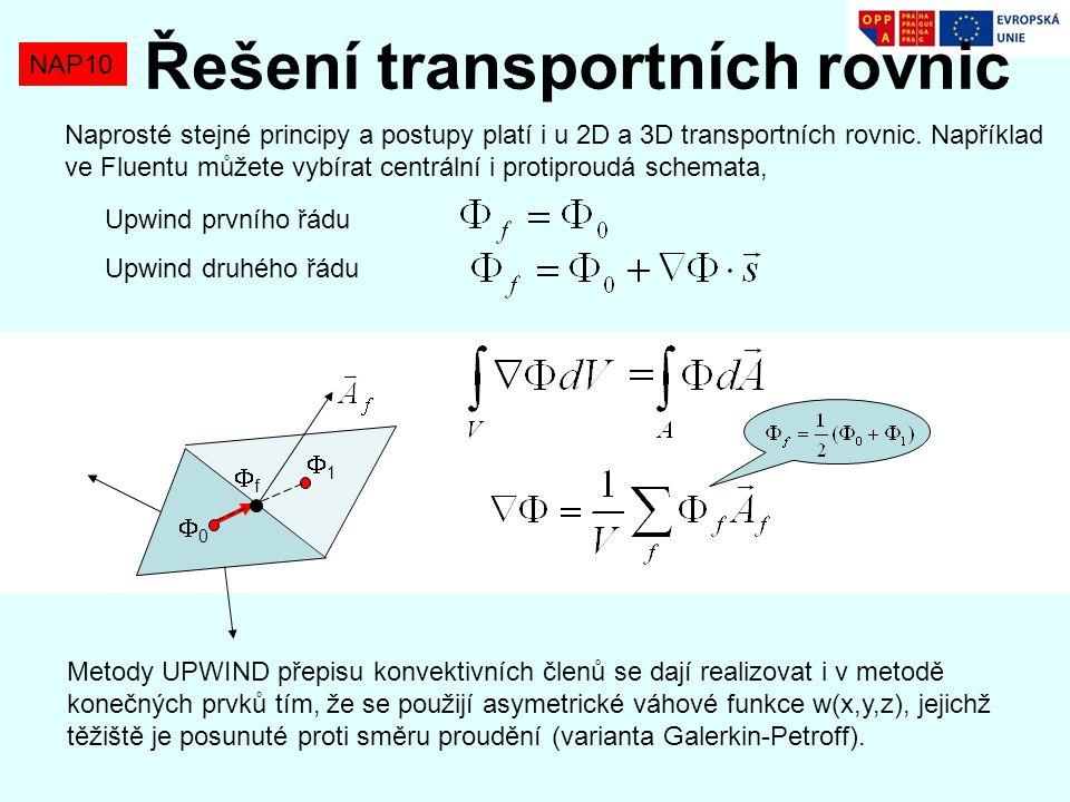 NAP10 Řešení transportních rovnic Naprosté stejné principy a postupy platí i u 2D a 3D transportních rovnic. Například ve Fluentu můžete vybírat centr