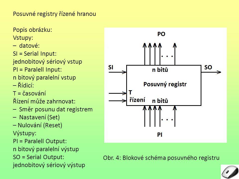 Posuvné registry řízené hranou Popis obrázku: Vstupy: – datové: SI = Serial Input: jednobitový sériový vstup PI = Paralell Input: n bitový paralelní v