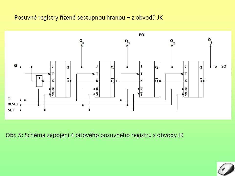 Posuvné registry řízené sestupnou hranou – z obvodů JK Obr.