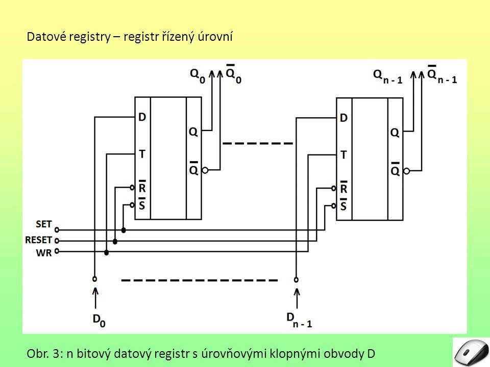 Datové registry – řízený hranou Od registru řízeného úrovní se liší tím, že aktivní částí časovacího signálu je některá z hran: – sestupná – vzestupná Protože hrana trvá jen velmi krátký čas (na rozdíl od úrovně, která trvá obvykle delší dobu), nedá se tento typ registru používat jako běžná n-bitová paměť).