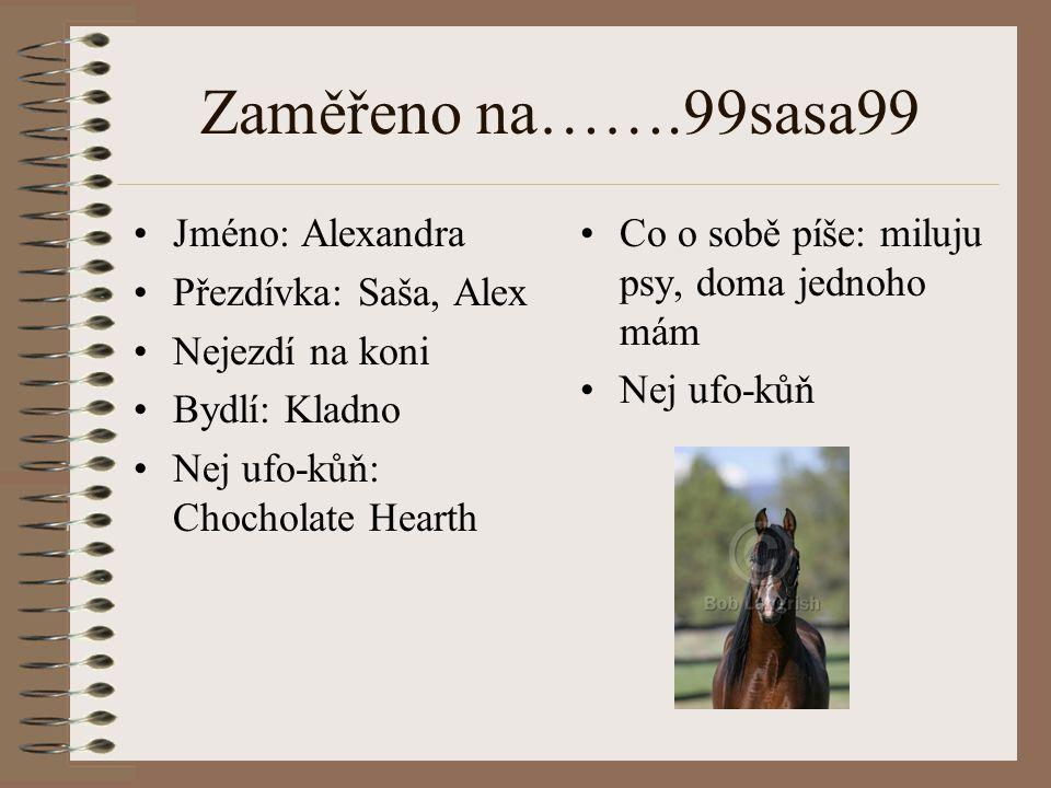 Zaměřeno na…….99sasa99 Jméno: Alexandra Přezdívka: Saša, Alex Nejezdí na koni Bydlí: Kladno Nej ufo-kůň: Chocholate Hearth Co o sobě píše: miluju psy,