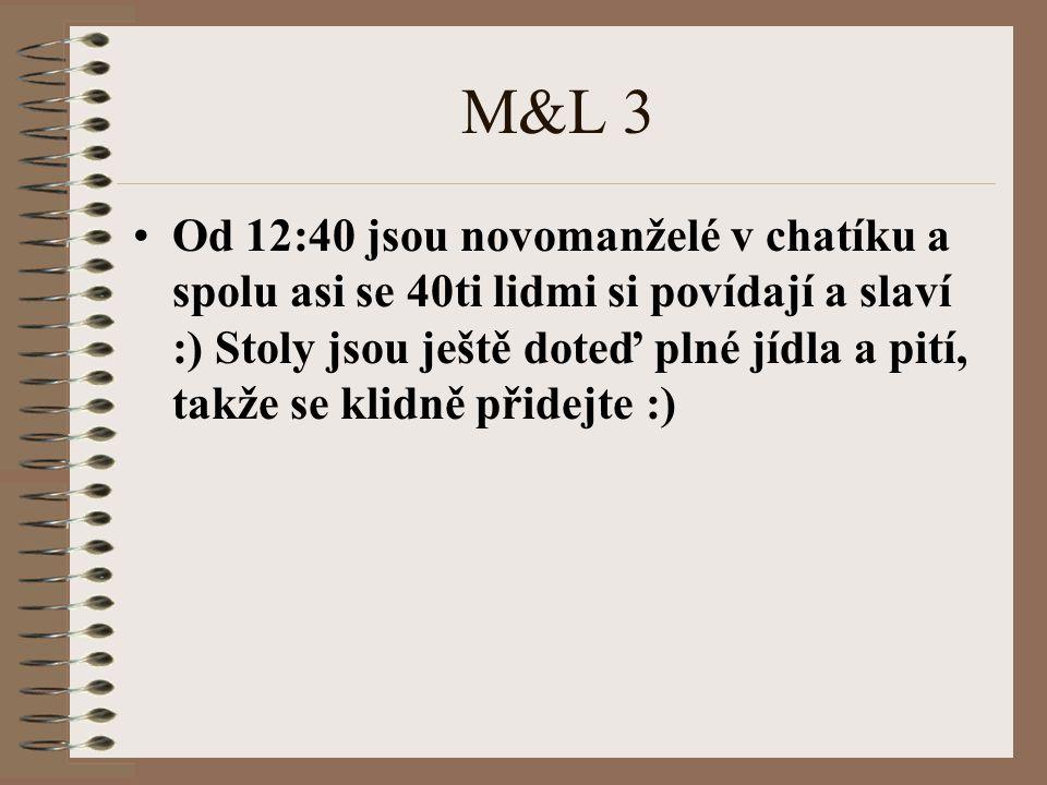 M&L 3 Od 12:40 jsou novomanželé v chatíku a spolu asi se 40ti lidmi si povídají a slaví :) Stoly jsou ještě doteď plné jídla a pití, takže se klidně p