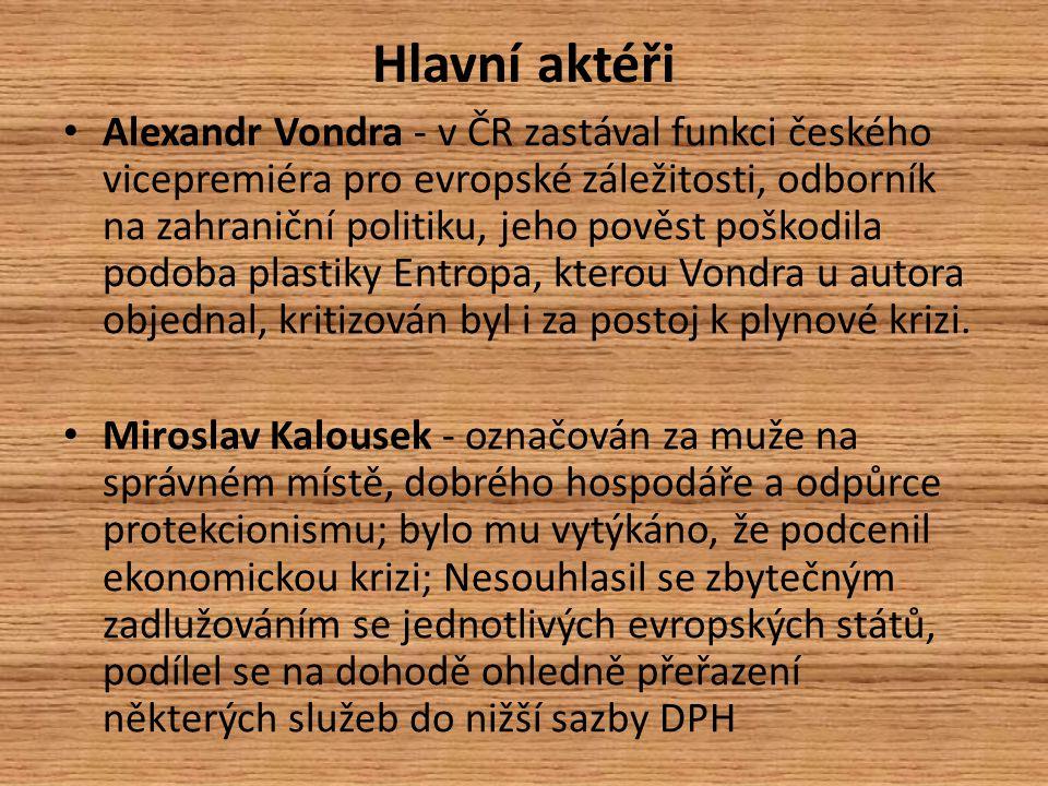 Hlavní aktéři Alexandr Vondra - v ČR zastával funkci českého vicepremiéra pro evropské záležitosti, odborník na zahraniční politiku, jeho pověst poškodila podoba plastiky Entropa, kterou Vondra u autora objednal, kritizován byl i za postoj k plynové krizi.