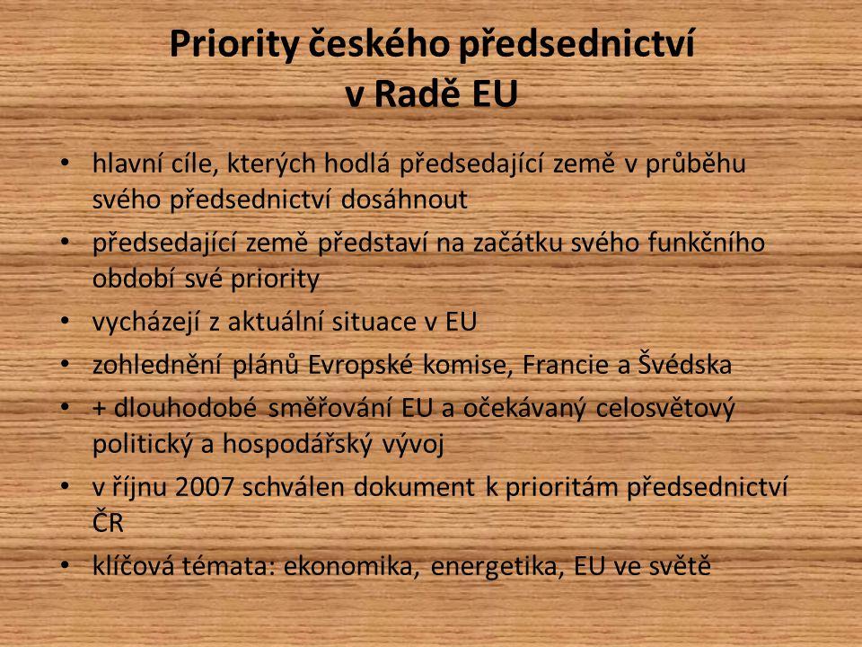 Priority českého předsednictví v Radě EU hlavní cíle, kterých hodlá předsedající země v průběhu svého předsednictví dosáhnout předsedající země představí na začátku svého funkčního období své priority vycházejí z aktuální situace v EU zohlednění plánů Evropské komise, Francie a Švédska + dlouhodobé směřování EU a očekávaný celosvětový politický a hospodářský vývoj v říjnu 2007 schválen dokument k prioritám předsednictví ČR klíčová témata: ekonomika, energetika, EU ve světě