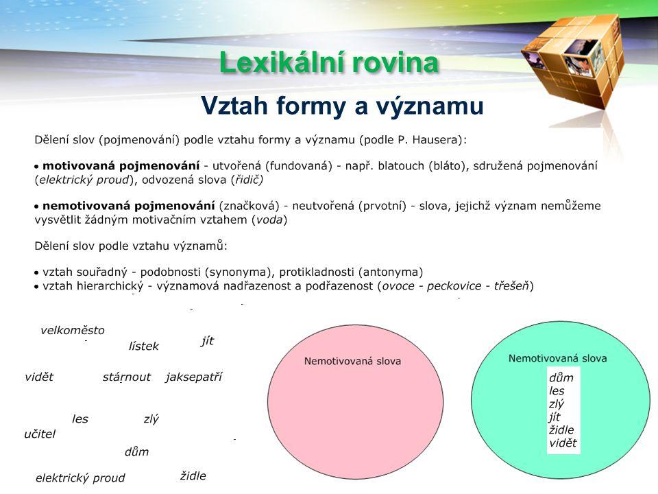 Lexikální rovina Vztah formy a významu