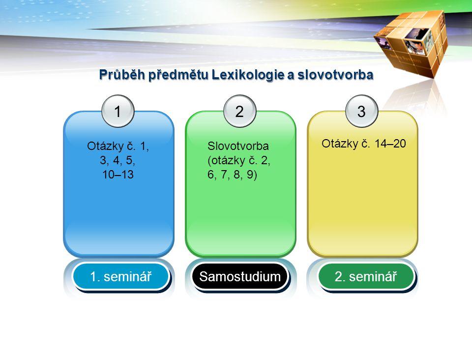 Průběh předmětu Lexikologie a slovotvorba 12 Slovotvorba (otázky č.