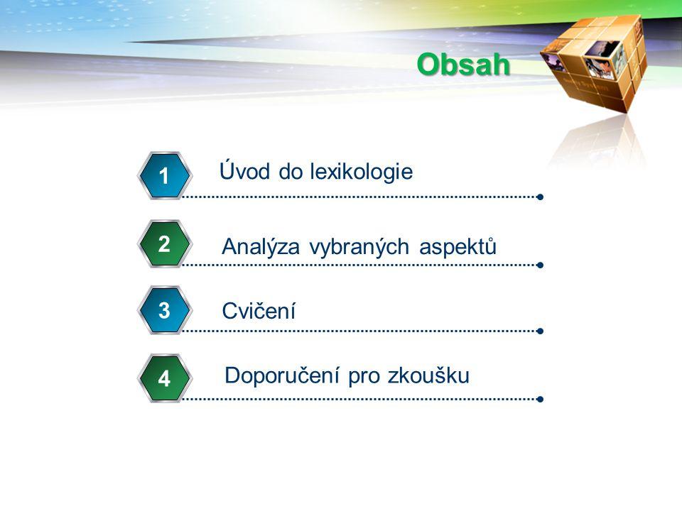 Obsah Úvod do lexikologie 1 Analýza vybraných aspektů 2 Cvičení 3 Doporučení pro zkoušku 4
