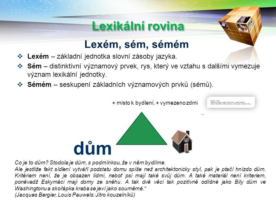 Lexikální rovina  Lexém – základní jednotka slovní zásoby jazyka.