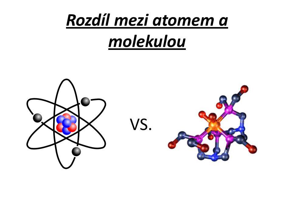 Rozdíl mezi atomem a molekulou VS.
