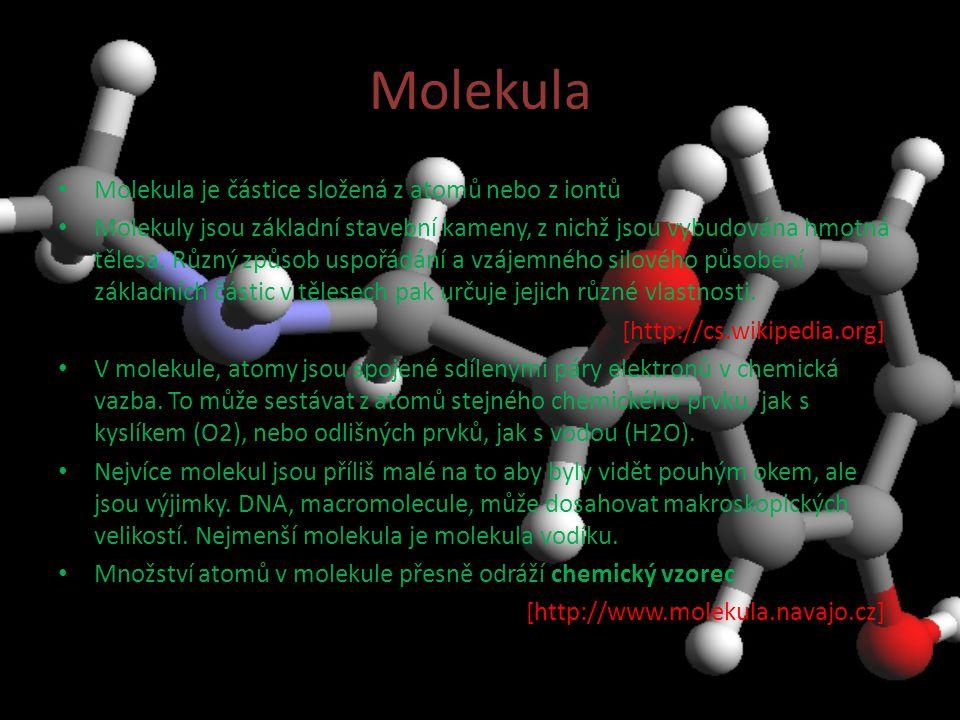 Molekula Molekula je částice složená z atomů nebo z iontů Molekuly jsou základní stavební kameny, z nichž jsou vybudována hmotná tělesa.