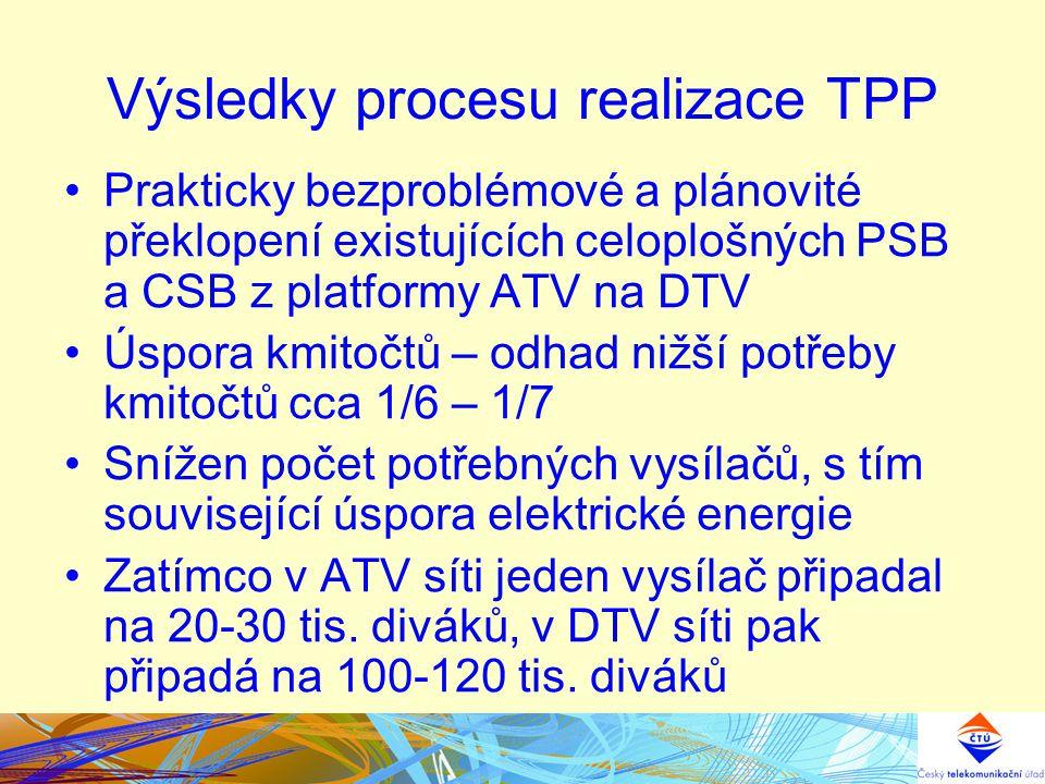 Výsledky procesu realizace TPP Prakticky bezproblémové a plánovité překlopení existujících celoplošných PSB a CSB z platformy ATV na DTV Úspora kmitoč